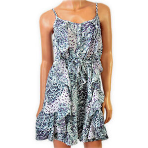Womens Ladies Floral Belted Frill Summer Beach Dress Sundress Cami Straps Tunic