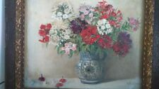 Peinture pot de fleur signée. Painting flower pot signed.