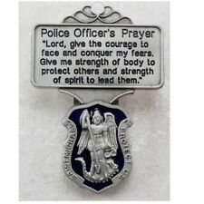 Saint St Michael Protection Medal Police Officer's Prayer Blue Enamel Visor Clip