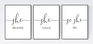 Girls Bedroom Print, She Believed She Could So She Did Print, Nursery Wall Decor