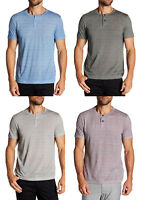 New Theory Striped  Gaskell H Henley Grey Short Sleeve T-Shirt M L XL