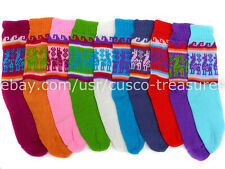 Set of 10 peruvian alpaca yarn long socks light and warm, socks pastel color