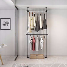 2 Tier Clothes Rack for Hanging Clothes, Free-Standing Adjustable Clothing Rack