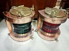 vintage nautical marine ship copper & brass electric lamp red green glass