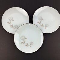 "Vtg Set Of 3 NORITAKE China Rosay Rose 6216 Salad Plates 8 1/4"" Platinum Trim"