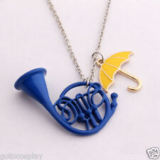 How I Met Your Mother Yellow Umbrella/Blue French Horn Necklace Pendant