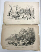 Lot Of 2 Antique A. Haun Engraving Druck u Verlag Dresden Landscape Kloster