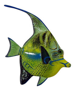 Tropical Bright Yellow Green Blue Angel Fish Hanger Wall Plaque