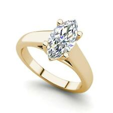 Solitaire 1 Carat VS2/D Marquise Cut Diamond Engagement Ring Yellow Gold