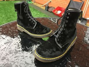 Vintage Dr Martens 1460 black velvet textile boots UK 6.5 EU 40 Made in England