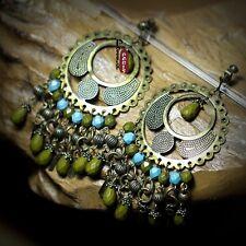Boucles d`Oreilles Clips Gros Rond Tassel Metal Turquoise Vert Original  E8