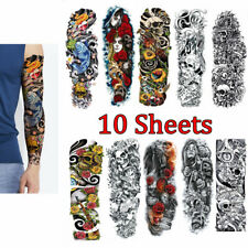 10 Sheets Arm Temporary Tattoo Waterproof Large Body Art Tattoos Sticker Sleeve