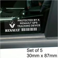 5 x Renault GPS Tracking Device Security Stickers-Clio,Megane-Car Alarm Tracker