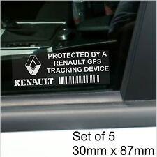 5 X Renault De Rastreo Gps Dispositivo De Seguridad stickers-clio, megane-car Alarm Tracker