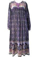 Karni made indian folk dress blue elephant printed vintage maxi dress women's