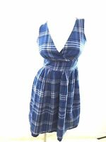 VAN HEUSEN WOMENS BLUE & WHITE PLAID COTTON SUN DRESS SIZE 2
