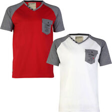 New Mens Dissident Richard V Neck Short Sleeve Cotton Contrast T-Shirt Size S-M
