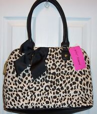 NWT BETSEY JOHNSON DOME SATCHEL *BE MINE LEOPARD/BLACK*  PUFFY HEART DESIGN
