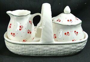 Ceramic Creamer & Sugar W/ Basket 3 Pc. Set Cherries Fruit Lord & Taylor Japan
