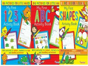 ABC 123 Shapes A4 Learn Write Letters Numbers Activity Colouring Books- Set of 3