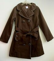 Gymboree Girls Trench Coat Brown Lined Belted Spring Size S 5-6 NWT