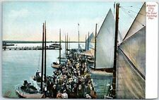 """Atlantic City, New Jersey Postcard """"The Inlet Yachting Pier"""" Sailing Ships 1910s"""