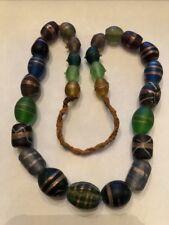 "19"" Antique Graduated Mixed Color & Shape Travertine Art Glass Trade Bead Strand"