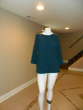 Croft&Barrow Women's Crewneck Button Shoulder 3/4 Sleeve Top Teal Striped L NEW