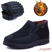 Mens slip on Thicken fur lined Winter warm High top Antiskid Casual Snow shoes