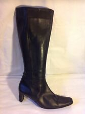 LEA SOLE Black Knee High Leather Boots Size 38