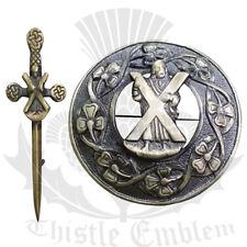 "Scottish Kilt Fly Plaid Brooch Antique Finish ST Andrew 3"" Celtic Kilt Pin 4"""