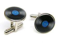 MUSIC LP VINYL RECORD CUFFLINKS MENS GENTS LADIES NOVELTY BADGE IN GIFT POUCH