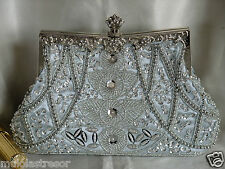 VINTAGE LOOK SILVER FLORAL FULLY BEADED SATIN EVENING PURSE/CLUTCH/HANDBAG