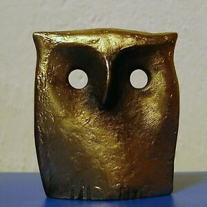 Golden Color Owl Art Sculpture