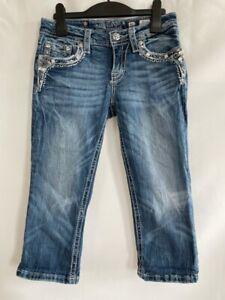 Miss Me Girls Capri Jeans Blue Embellished Flap Pockets Stretch Low Rise 16