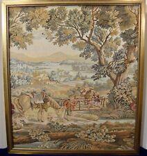 Framed Italian Hand-Woven Tapestry Set of Two