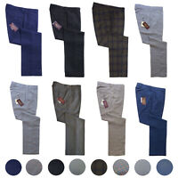 Relco Sta Press Trousers Dogtooth POW Tonic Tweed Black Blue Check Stay Pressed