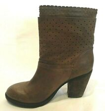 STEVEN Steve Madden KOBRRA Taupe Leather Perforated Ankle Boots SZ 8.5 EUC
