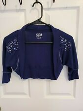 Justice Girl Navy Blue 3/4 Sleeve Short Open Cardigan W/Studs & Stones, Size 7