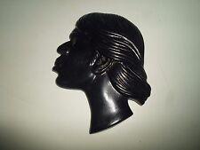 Rare Vtg Takacs Studio Pottery Australian Aboriginal Head Wall Plaque / Mask §2