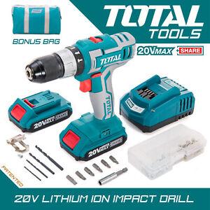 Total Tools - Cordless Impact Drill 20v 2.0Ah Li-ion Battery 50Pc Accessories