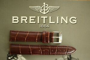 SILVER BUCKLE 18MM BROWN CROCO WATCH BAND WATCHBAND STRAP BRACELET FOR BREITLING