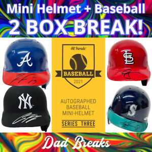 CLEVELAND INDIANS MLB Signed Mini Batting Helmet + TriStar Baseball: 2 BOX BREAK