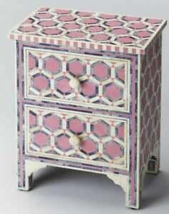 Bone Inlay Small Bedside Hexagon Aqua Pink bone inlay