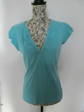 PAPAYA - TURQUOISE  DEEP V-NECK CAP SLEEVE T-SHIRT SIZE 10