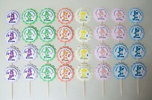 32 CARE BEARS Personalized cupcake toppers birthday party favors