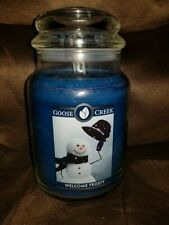 WELCOME FROSTY LARGE GOOSE CREEK CANDLE JAR 24 OZ NEW WINTER SCENT bin 23
