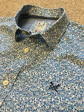 GORGEOUS CREW CLOTHING FLORAL FLOWER PRINT TAILORED FIT SHIRT M MEDIUM COST £80