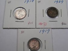 Three Canadian 10 Cent Coins. Years: 1917, 1918 & 1929. Canada.  #31