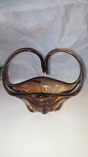 ART GLASS BASKET, BROWN, CENTERPIECE, MURANO STYLE